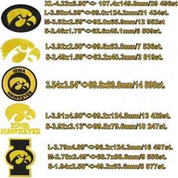Iowa Hawkeyes logo machine embroidery design for instant download
